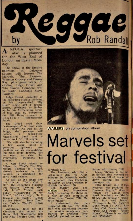 Randall, Rob. Melody Maker wailers (Mar 16, 1974)