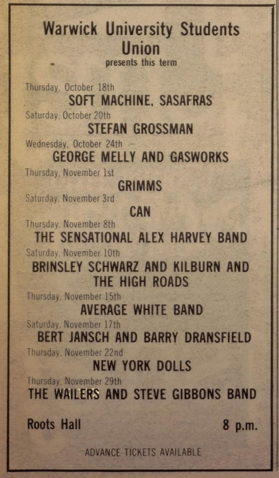 Melody Maker wailers warwick (Oct 20, 1973)