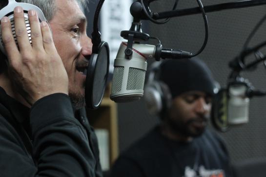 Doc Xray & Maro Lion, interviewing Clinton Fearon , Radio Grenouille , Maro Lion , live at radio grenouille - Photo Fred reGGaeLover 2014
