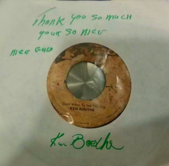 "mister ken boothe took the time to wrote upon this original 7""s"