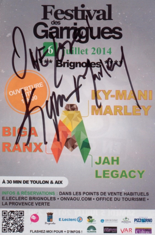 Flyer signed by Kymani Marley