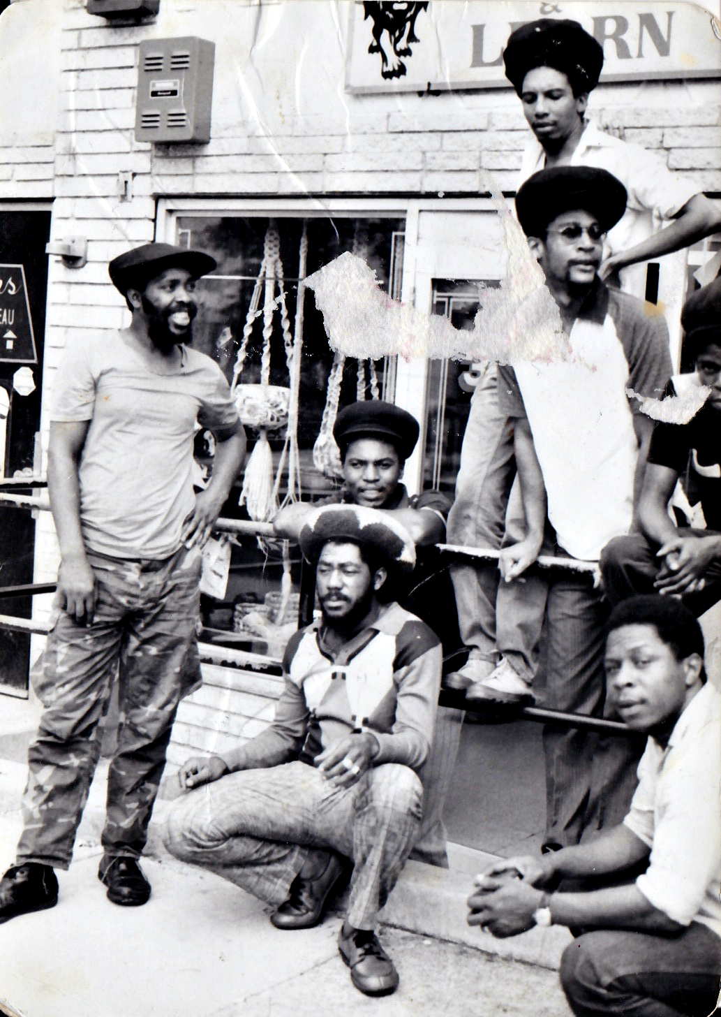 "Live & Learn Records, August 1980 (clockwise from bottom-center: Johnnie Clarke, Mikey Jarrett, Delroy Wright, Hyman ""Jah Life"" Wright, Dillinger, Earl Heptones)"