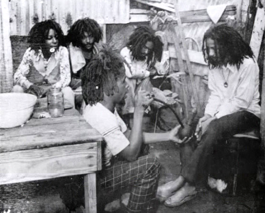 From left to right - Mundell, Jah Mikey, Jah Hubey, Bongo Teo, Jah Pablo, 1977