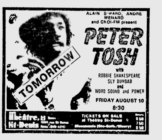 1979-08-09 Montreal Gazette, Advert for Peter Tosh & Word Sound & Power at St Denis Theater