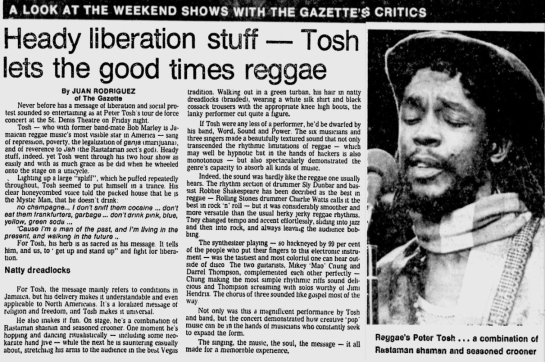 1979-08-13 review concert  on peter tosh st denis theater held 1979-08-10