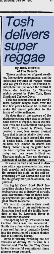1980-07-20 peter tosh concert review on montreal gazette