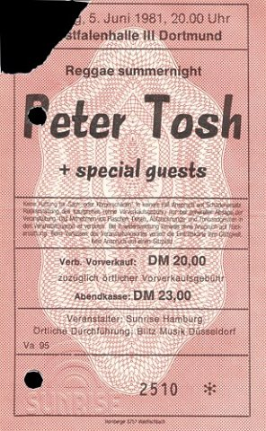 1981-06-05 Peter Tosh Ticket Stub - Courtesy of Volker