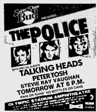 1983-08-02 Advert for concert at the Olympic Stadium Ampitheatre, Montreal