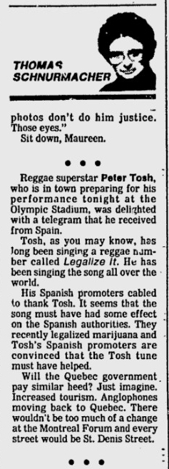 1983-08-03 Montreal Gazette article on peter tosh