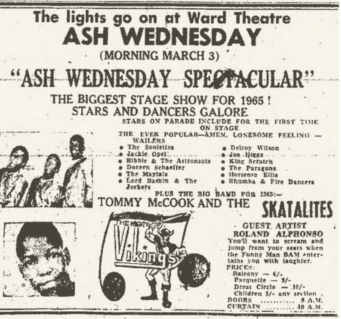 1965-03-03 Live with Lee Scratch Perry , The Soulettes at Ash Wednesday Ward Theater, Kingston
