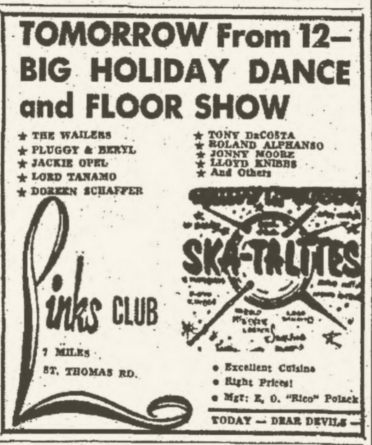 1965-04-19 Wailers And Skatalites, Big Holiday Dance And Floor Show, Links Club, Kingston
