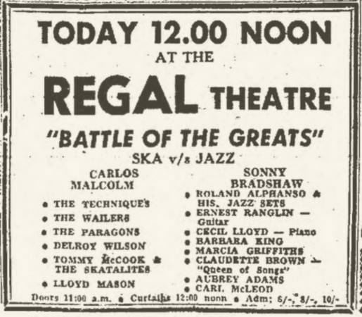 1965-06-20 Battle Of The Greats , Regal Theater , Kingston , Jamaica