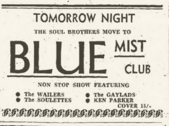 1965-12-27 Live with Soul Brothers, The Soulettes, Gaylads, Ken Parker, Blue Mist Club