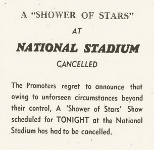 1966-01-16 A Shower Of Stars , Farewell Performance Of The Drifter, National Stadium, Kingston - Cancelled