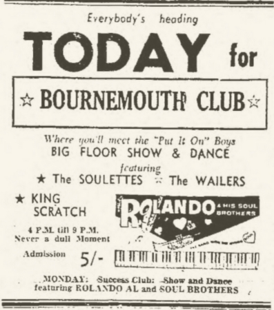 1966-01-30 Live With The Soulettes And Lee Scratch Perry, Big Floor Show And Dance , Bournmouth Club