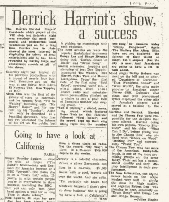 1970-10-23 Singers Cavalcade Derrick Harriott's - Review Kingston Gleaner