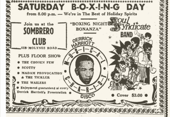 1970-12-26 Saturday Boxing Day, Live At The Sombrero Night Club, Kingston, Jamaica