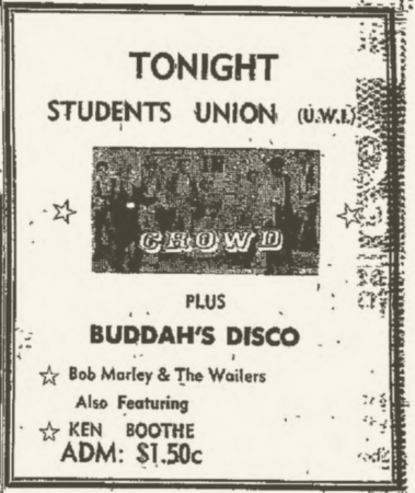 1971-10-07 Live With Ken Boothe , Student Union UCWI, Kingston , Jamaica