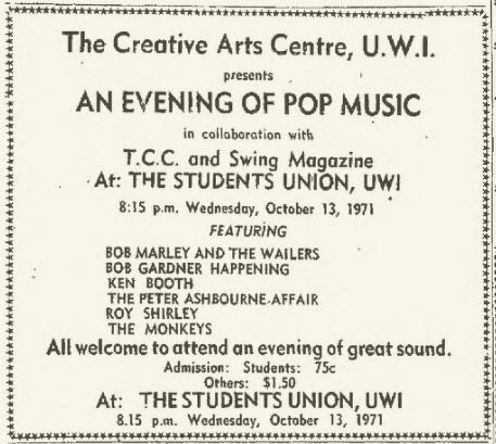 1971-10-13 An Evening Of Pop Music , Student Union UWI, Kingston , Jamaica