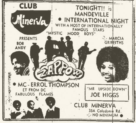 1972-05-06 Marcia Griffiths, Joe Higgs, Live Club Minerva , Mandeville, Jamaica
