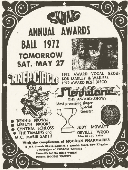 1972-05-27 Swing Annual Awards Ball, Wailers Award For Best Vocal Group, Jamaica House, Kingston
