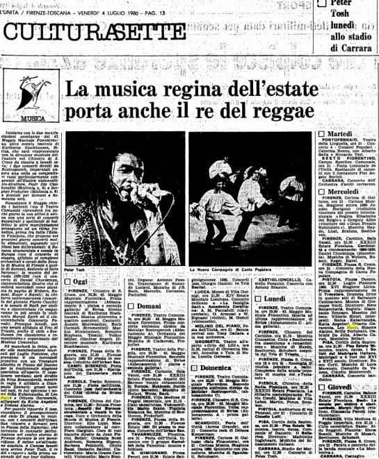 L'Unita magazine , 1980-07-04 peter tosh at massa carrara