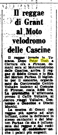 1980-07-09 Article About Eddie Grant And Peter Tosh, Italy 1980