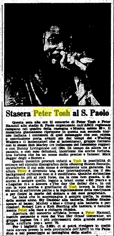 1980-07-12 L'Unita Magazine, Peter Tosh In Napoli