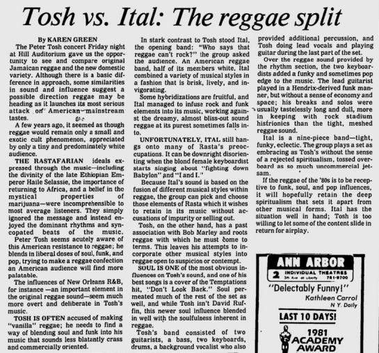 1981-09-20 concert review  into the michigan daily
