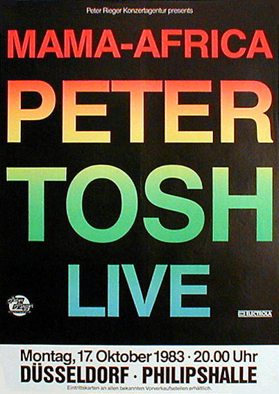 Peter Tosh & Word Sound And Power , Live 1983 Dusseldorf - Original Poster