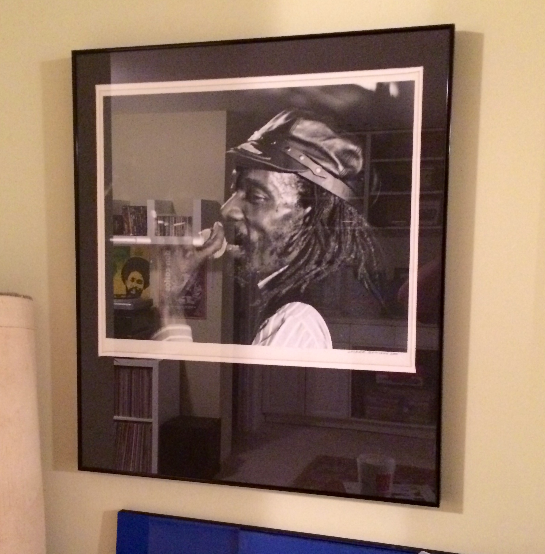 One of two framed portraits on display in the bass-ment. A gift from Doctor Dread. The other is a portrait of Bunny Wailer.