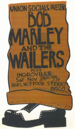1973-11-24 Bob Marley And The Wailers, Live Manchester Polytechnic University - Original Poster By Ok Dave