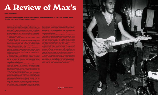 Previously unpublished review of the Max's Kansas City Show by Lorraine O'Grady, Village Voice, 1973